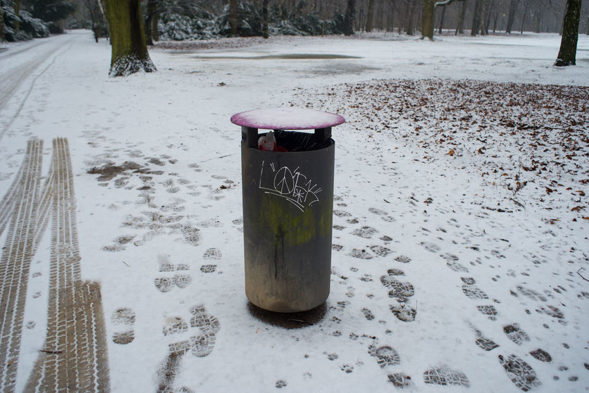 Berlin City City Life Europe Garbage Bin No People Outdoors Snow Strees Streetphotography Tree Trees Winter