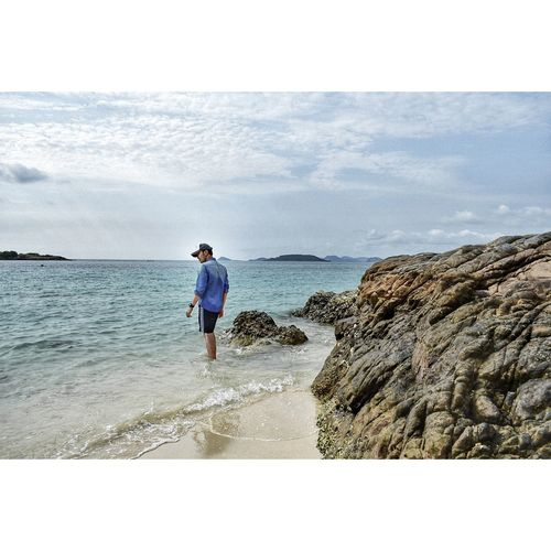 Water Sea Full Length Beach Men Sand Sportsman Golfer Wave Rear View