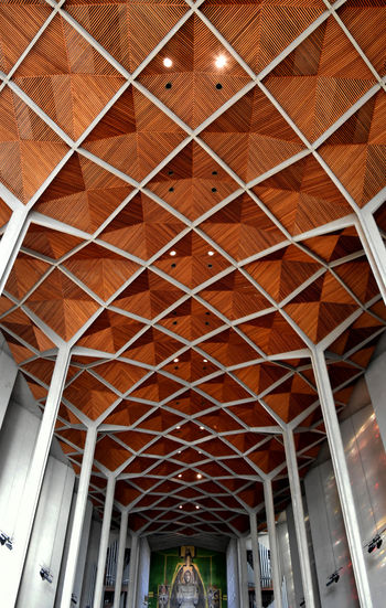 Architectural Design Architecture Built Structure Ceiling Coventry Cathedral - UK Day Geometric Design Indoors  Modern No People Pattern Pillars Roof Beam Wood - Material The Graphic City