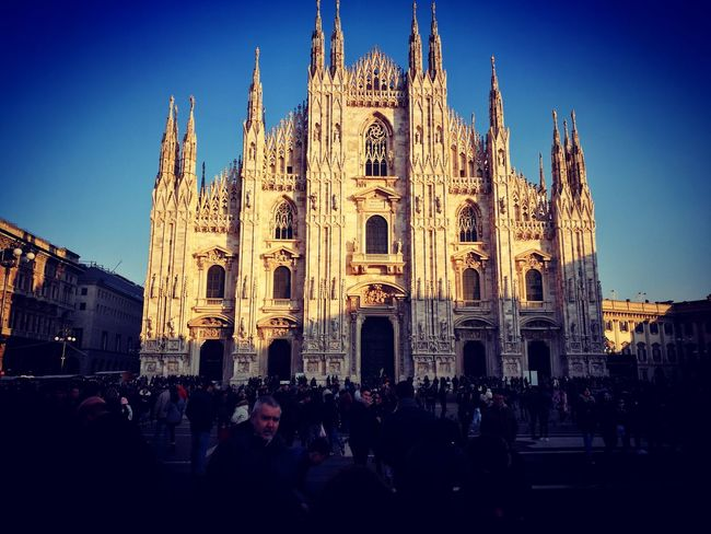 Travel Destinations Building Exterior Cultures Large Group Of People Religion Place Of Worship Celebration Architecture City People Outdoors Clock Tower Crowd Adults Only Adult Day Milan,Italy DuomoDiMilano