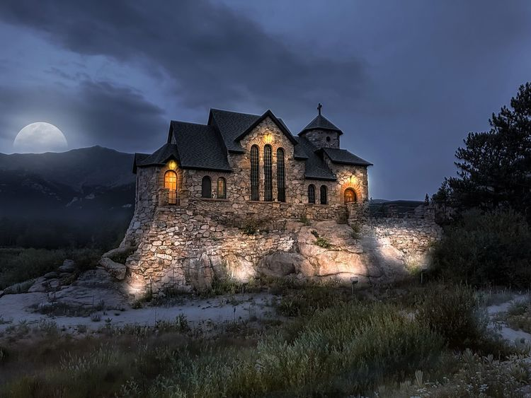 Chapel on the Rock in allenspark Colorado. Moon Spooky Chapel Architecture Built Structure Building Exterior Building Sky The Past History Cloud - Sky No People Place Of Worship Nature Illuminated Travel Destinations Religion Travel Outdoors Spirituality Belief Dusk Ruined EyeEmNewHere Capture Tomorrow
