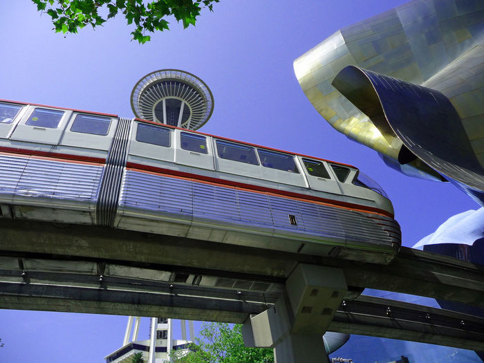 Seattle Space Needle, monorail and Science Fiction Museum. Seattle Sci-Fi Museum Seattle Space Needle Architecture Built Structure Day Low Angle View Monorail  No People Outdoors Sky