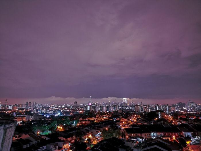 Cloudy night over downtown kuala lumpur