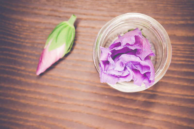 High angle view of purple flower in vase on wooden table