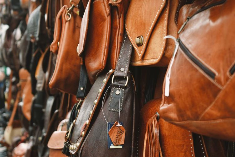 Close-up of leather for sale in market