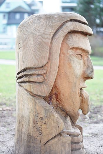 Close-Up Of Wooden Statue In Park