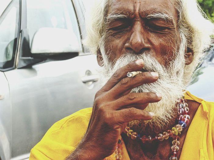 Oldman Smoke Smoking Close-up