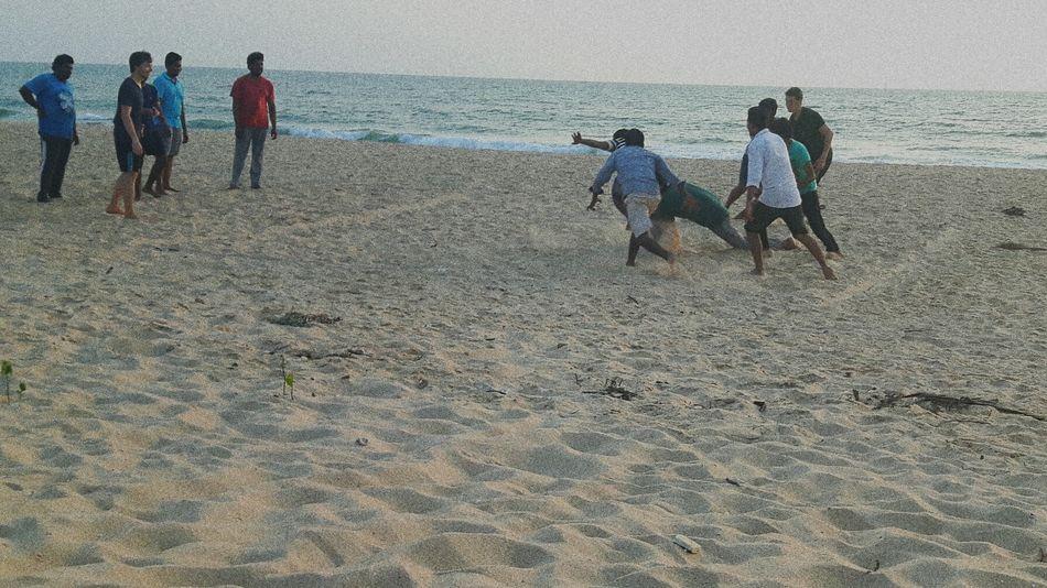 Playing Kabbadi At Beach Fun Time Kundapura Karnataka India