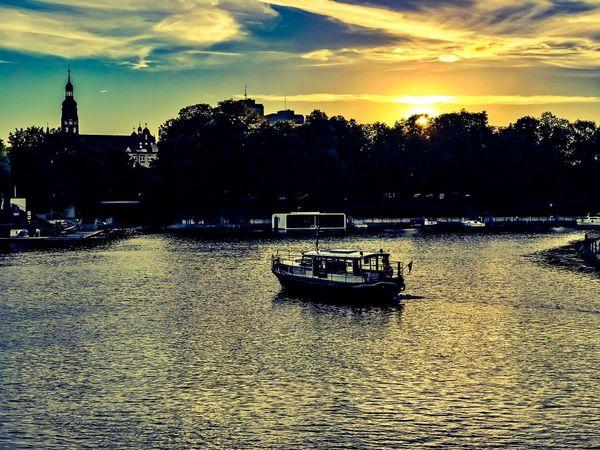 Brda River Rzeka Bydgoszcz Sky Sunset Cloud - Sky Water Transportation Nautical Vessel Nature