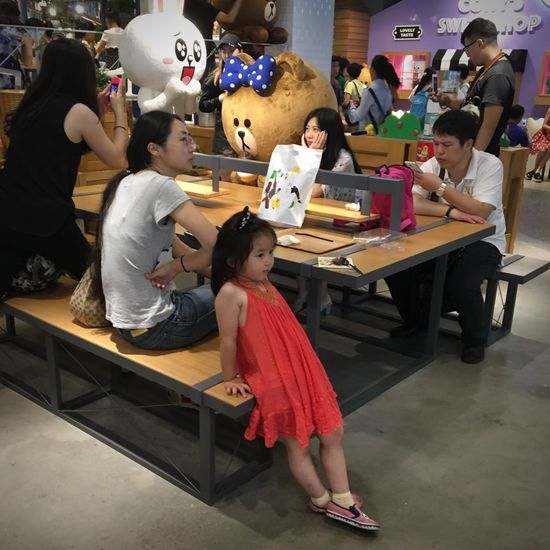Line Friends Store Line Friends Group Of People Alienation Young Girl So Near Yet So Far