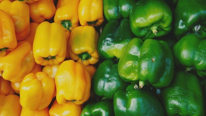 Paprika Paprica Vegetables Vegetable Yellow Green Colors Color