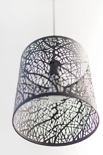 Creative basket hanging ceiling lamp Indoors  Close-up Pattern No People White Background Studio Shot Design Metal Lighting Equipment Shape Single Object Still Life Art And Craft Architecture Creativity Geometric Shape Low Angle View Electric Lamp Creative Hanging Light