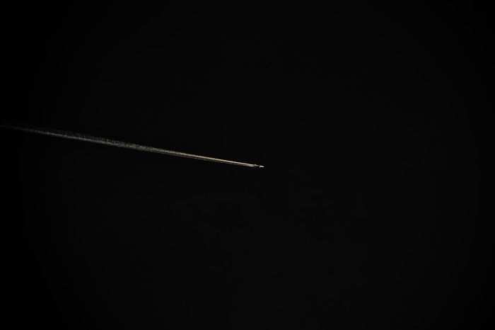 . alone in the dark ... Airplane Canon Clear Sky Fume Lightstrip No People Outdoors Suny Day Zoom