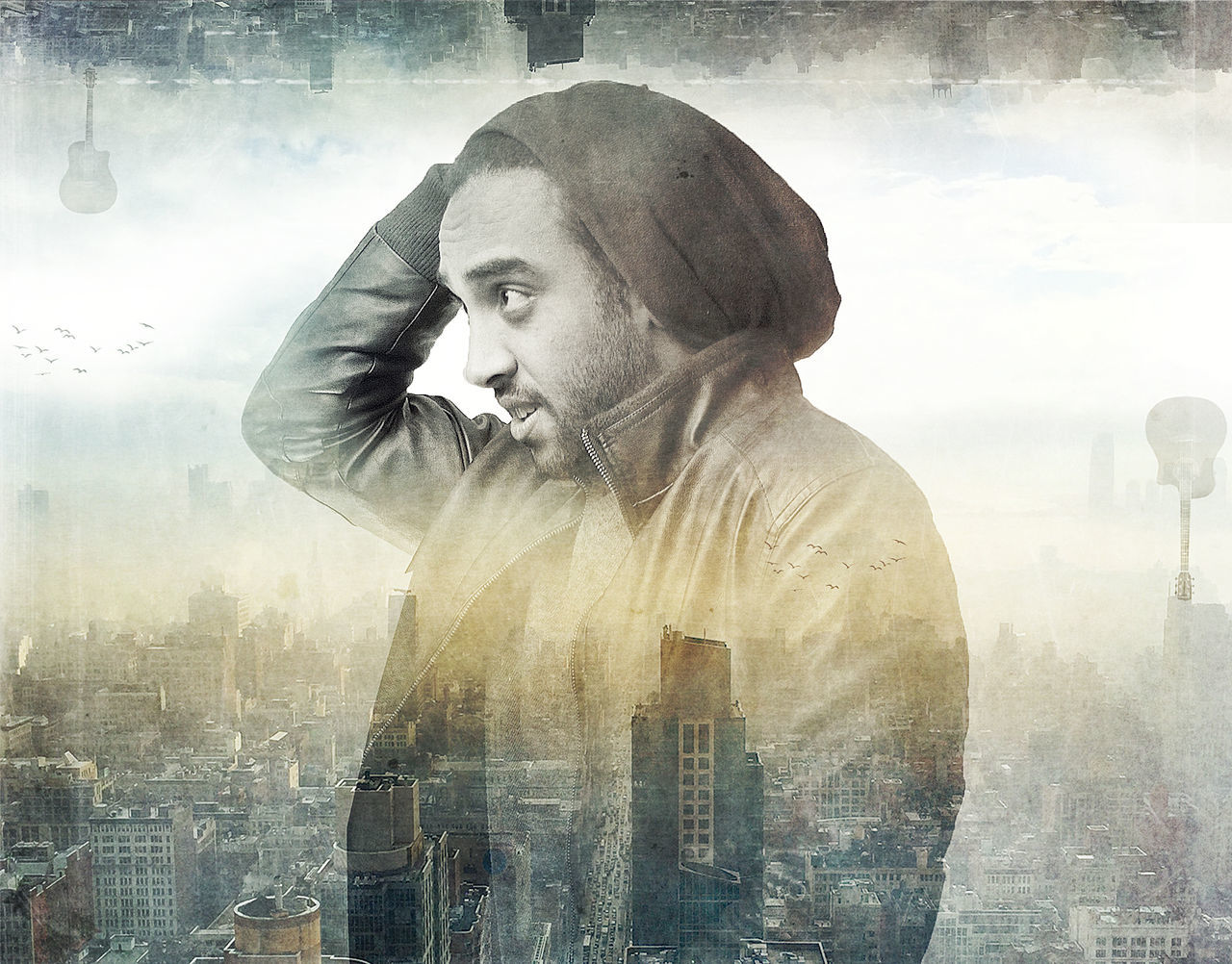 digital composite, one person, outdoors, real people, sky, cityscape, city, day, young adult, people