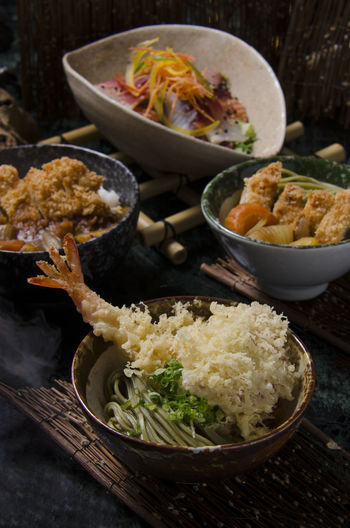 Japanese food in Japanese restaurant. Japanese Food Japanese Restaurant Bowl Chicken Curry With Rice Close-up Day Food Food And Drink Freshness Fried Rice Fried Shrimp With Rice Healthy Eating Indoors  No People Plate Ready-to-eat Serving Size Table Tempurashrimp Vegetable