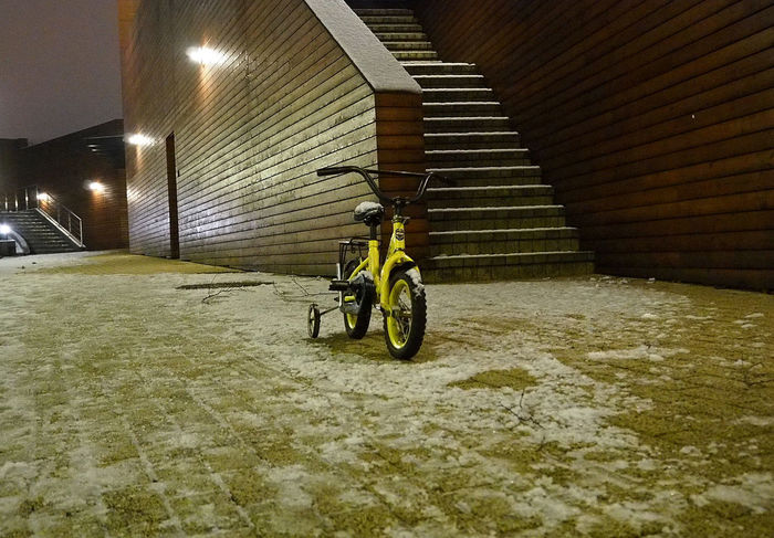 Waiting Kids Bike Loneliness Lonely Ride Like The Wind Waiting Winter Wintertime Architecture Bicycle Built Structure Illuminated Indoors  Land Vehicle Night No People Transportation
