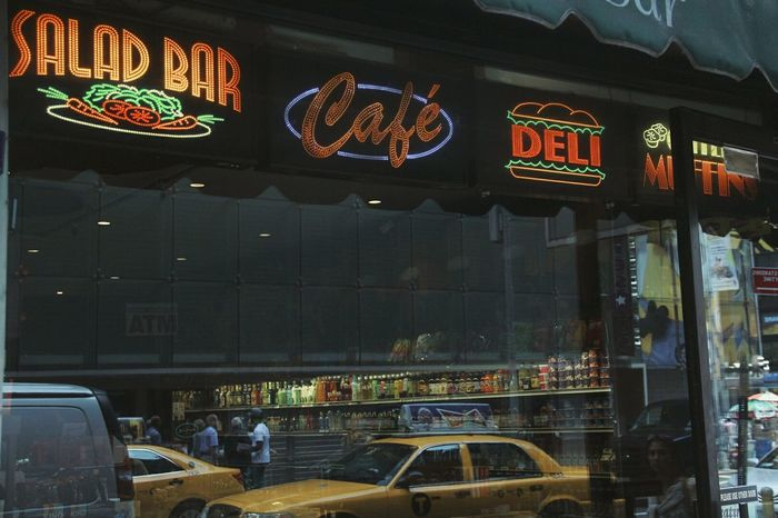 Cafe Reflection Food Food And Drink Salad Bar City Lights Light Signs New York The City Light Colour Your Horizn