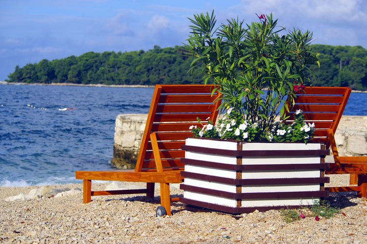 Empty chairs on bench by sea against sky
