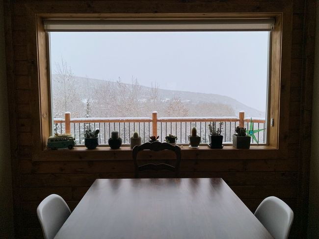waking up to snow. Iphonexs Utah Wasatch Mountains Wasatch Back Sky Window Architecture Indoors  Built Structure No People Nature
