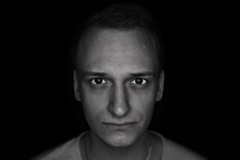Adult Adults Only Black Background Close-up Day Front View Headshot Human Eye Human Face Indoors  Lifestyles Looking At Camera One Person People Portrait Real People The Portraitist - 2017 EyeEm Awards Young Adult