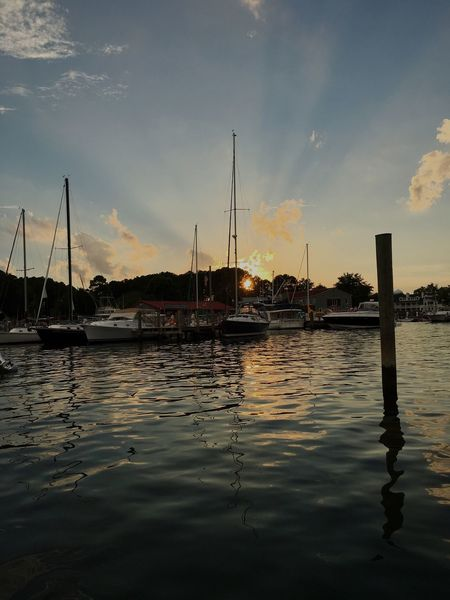Sommergefühle Nautical Vessel Water Sky Cloud - Sky Transportation Mode Of Transport Mast Moored Reflection Beauty In Nature Nature Scenics Tranquility Sunset Sea Tranquil Scene No People Harbor Outdoors Sailboat