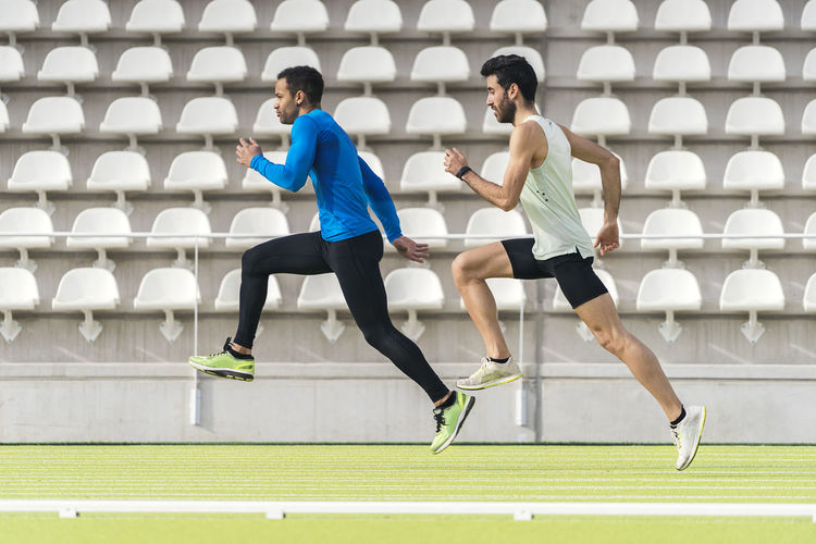 Full length of man running outdoors