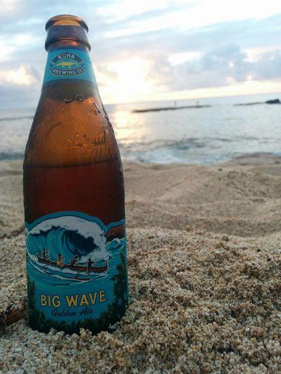 Big Wave Golden Ale Beer Bottle Three Tables Beach Oahu, Hawaii