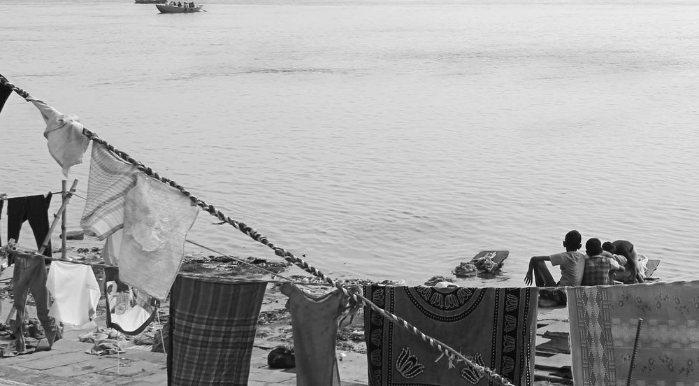 Water Outdoors Friendship Kids Two Friends Varanasi, India Ganges, Indian Lifestyle And Culture, Bathing In The Ganges, Ganges River Banks Of River Ganga Hanging Clothes Blackandwhite Photography Indiapictures Eyeem India EyeEmNewHere BYOPaper!