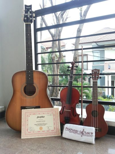 My Triplets Samebutdifferent 😍😍😍, yeah that's my partner when i Feelalone and i used them to PraiseAndWorship my Jesus 🙆 wohoo, well i'll introduces my triplets Instrument 🙌 from left is Accousticguitar 🎸, middle is Violin 🎻and bow, and right is Soprano Ukulele 🎸, they are same, but different too 🎼🎶😜 Thanks God, for the gift You gave to me 💗💗💗 Iamblessed