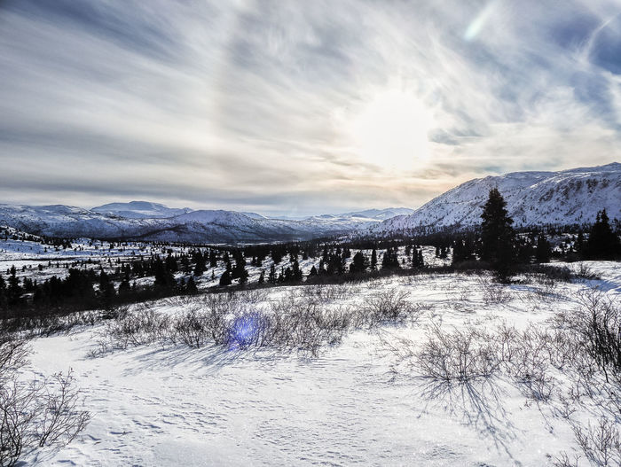 brightness over canada Beauty In Nature Bright Canada Cloud - Sky Clouds And Sky Cold Temperature Day Frozen Landscape Landscape_Collection Landscape_photography Lens Flare Mountain Mountain Range Nature No People Outdoors Scenics Sky Snow Snowcapped Mountain Sun Wilderness Area Winter Yukon Territory