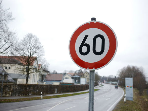 Speedlimit Trafficsign in south Germany Allgäu Guiding Traffic Architecture Bare Tree Clear Sky Day Guidance Guide Nature No People Outdoors Road Road Sign Sky Speed Limit Sign Traffic Sign Transportation Tree Winter
