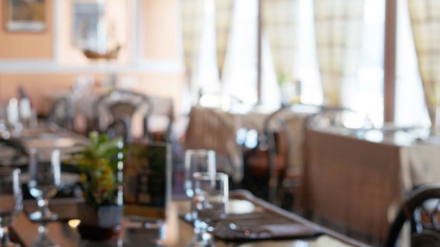 Blurred Background Defocused Indoors  Restaurant Table Wineglass