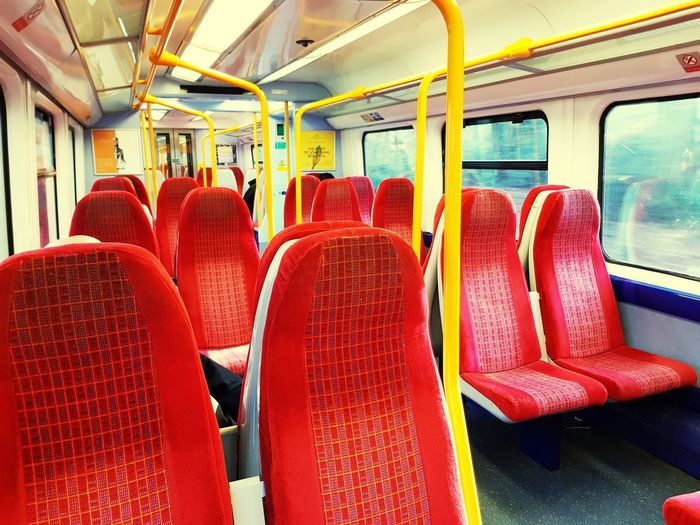 Peak Hour Train To London Empty Train Commuter Train Seat Red Public Transportation Train - Vehicle Sitting Passenger Seat Vehicle Interior Passenger Train Rail Transportation