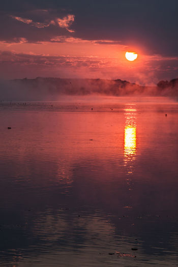 Beach Beauty In Nature Cloud - Sky Fog Foggy Foggy Morning Horizon Over Water Nature No People Outdoors Reflection Scenics Sky Sun Sunset Tranquil Scene Tranquility Water Waterfront