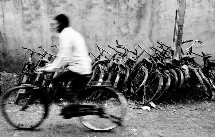 Bicycle Transportation One Person Real People Mode Of Transport Outdoors Men Adult People Day Minimalism PhonePhotography Smartphonephotograhy EyeEmNewHere EyeEm Selects InMotion Blurry On Purpose Blurry Photo Blurryface The Week On EyeEm Mobility In Mega Cities