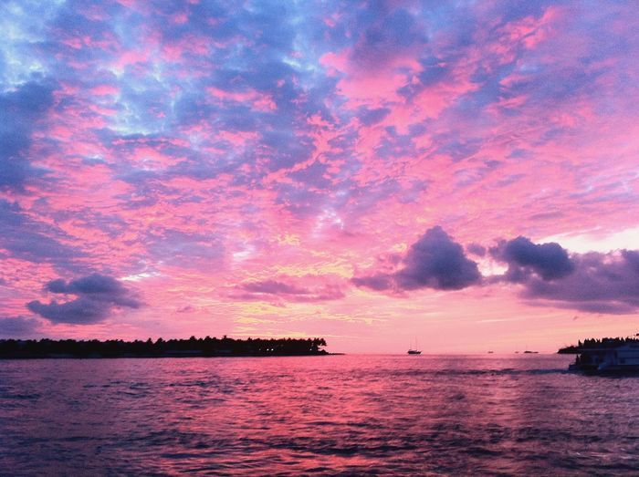 Sunset Mallory Square Pink Colours Miami Florida Key West Mallory Square Sky Water Sunset Beauty In Nature Sea Scenics - Nature Cloud - Sky Tranquil Scene Nature Nautical Vessel Silhouette Tranquility Waterfront Idyllic Dramatic Sky No People Outdoors Orange Color Transportation Purple