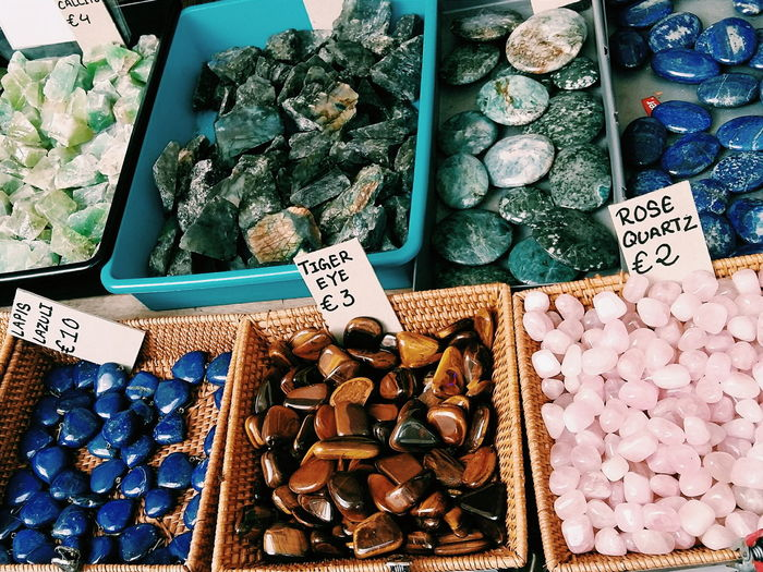 High angle view of precious stones for sale