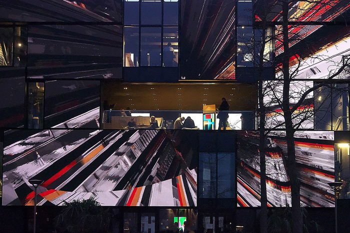 Facade of Images 2018 2018-02 2018-02-24 Architecture Built Structure Outdoor Multi Colored Communication Lighting Equipment City Night Façade
