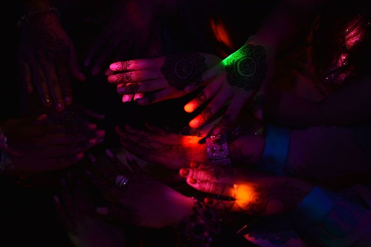 Bride Crew Hands Portrait Photography EyeEm Gallery EyeEm Best Shots Body Part EyeEm Selects Bride Black Background Girls Portrait Of A Woman Night Nightphotography Multi Colored Futuristic Close-up Light Painting Light Trail Long Exposure Disco Lights Clubbing Stage Light Entertainment