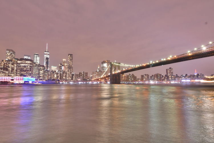 New York Brooklyn Bridge / New York East River Manhattan New York New York City New York ❤ Riverside Architecture Building Exterior Built Structure Bulb Bulbs City Cityscape Illuminated Langzeitaufnahme Langzeitbelichtung Nature Night Outdoor Photography Outdoors Riverview Sky Skyscraper Water