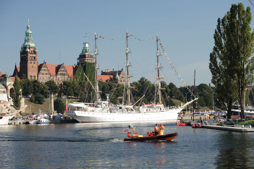 Harbor Sailing Ship Szczecin Tall Ship Boat Motorboat Nautical Vessel Real People Sailing Boat Ship Stettin Transportation Yacht