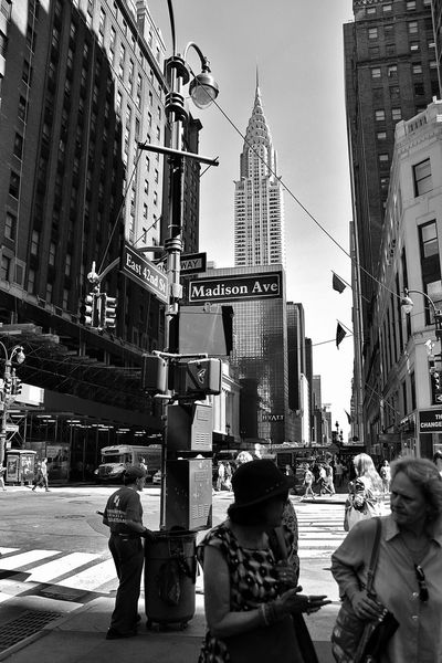 Architecture Black And White Building Building Exterior Built Structure Chrysler Building City City Life City Street Gratte-ciel Lifestyles Madison Avenue New York Noir Et Blanc Office Building Outdoors Rue De New York Street Tall - High Travel Destinations
