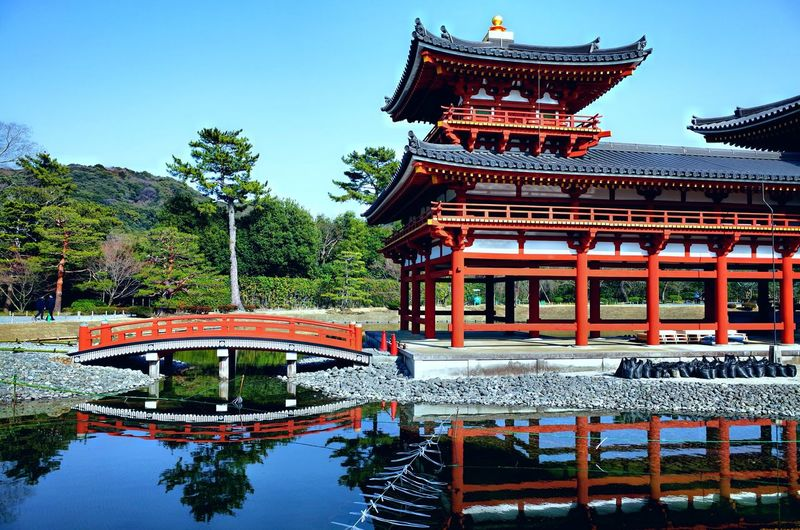 Byodoin Temple Kyoto Japan Temple Byodoin Temple Architecture Built Structure Building Exterior Sky Water Nature Tree Belief Religion Pagoda Place Of Worship Building Travel Destinations Plant Day Spirituality Outdoors No People Pond Ornate