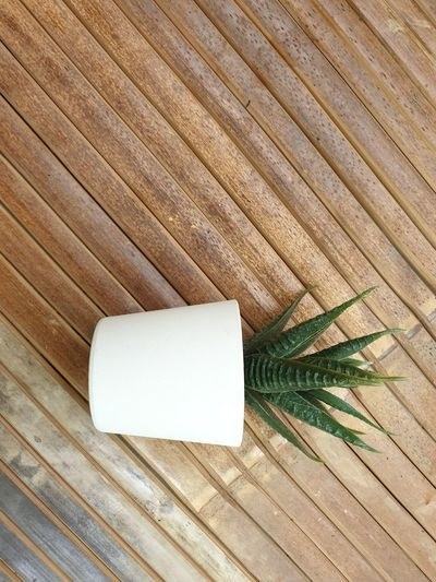 High angle view of wooden plank on table