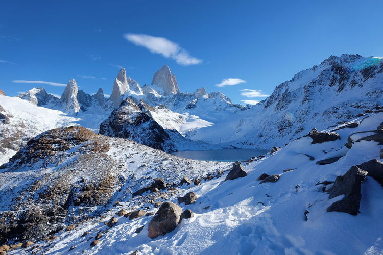Laguna de los Tres El Chalten Patagonia Patagonia Argentina Mountain Snowcapped Mountain Winter Landscape Climb Clear Sky Nature Cold Temperature Scenics Cloud - Sky No People Beauty In Nature Travel Destinations Shades Of Winter