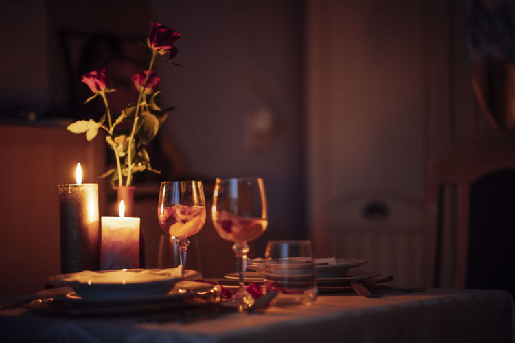 Tea light candles on table for romantic dinner on valentines day