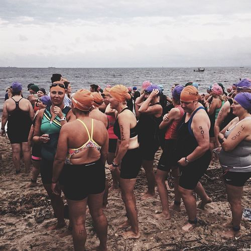 A group of Triathletes waiting their turn at Iron Girl in Sandy Hook NJ . IPhoneography Eye4photography  TRIATHLON Woman Triathlon Triathlete EyeEm New Jersey IPS2015Story