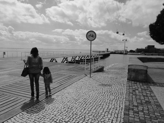 Mother & Daughter Holding Hands Black And White Cable Cars Riverside Eye4photography  Eye4black&white  Sky And Clouds Taking Photos EyeEm EyeEm Best Shots Eyeemphotography EyeEmBestPics Black & White Blackandwhite Urban Landscape EyeEm Nature Lover People Portugal I Love My City Learn & Shoot: Simplicity Seeing The Sights My Best Photo 2015