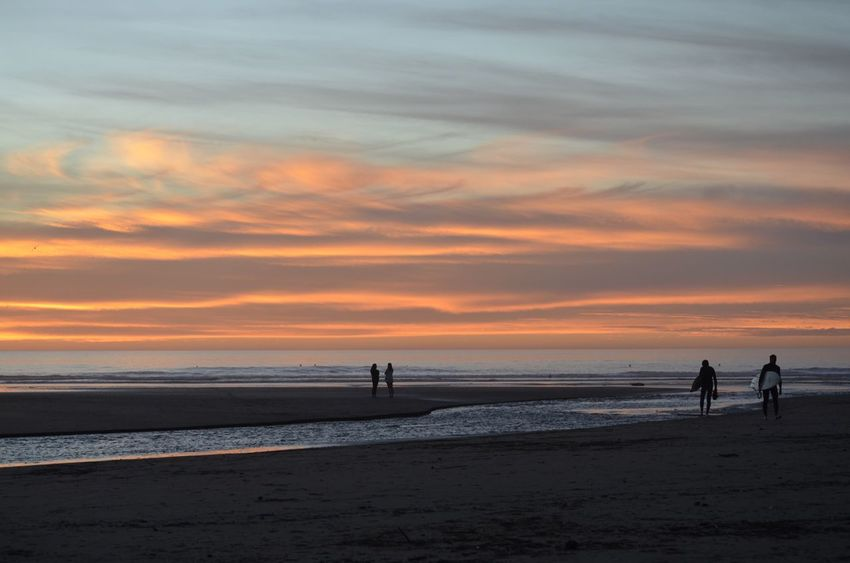 Sea Sunset Horizon Over Water Beach Sky Water Real People Cloud - Sky Silhouette Scenics Sand Two People Nature Leisure Activity Outdoors Beauty In Nature Men People Adult Day Travel Destinations Morro Bay Beauty In Nature EyeEm Gallery Eye4photography