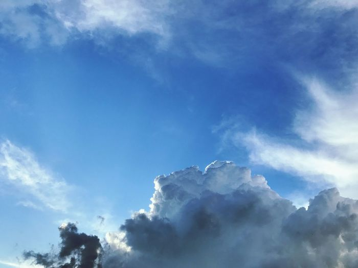 Smoke and Cloud Sky Low Angle View Cloud - Sky Nature Beauty In Nature Tranquility Day Scenics No People Outdoors Blue Tranquil Scene Sky Only